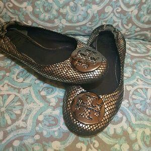 Tori Burch sliver snake skin reva flats.